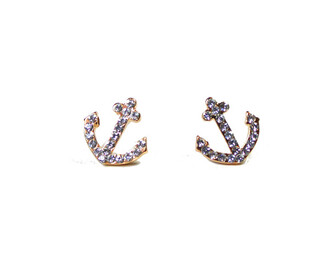 sparkle studs jewels earrings anchor gold cute