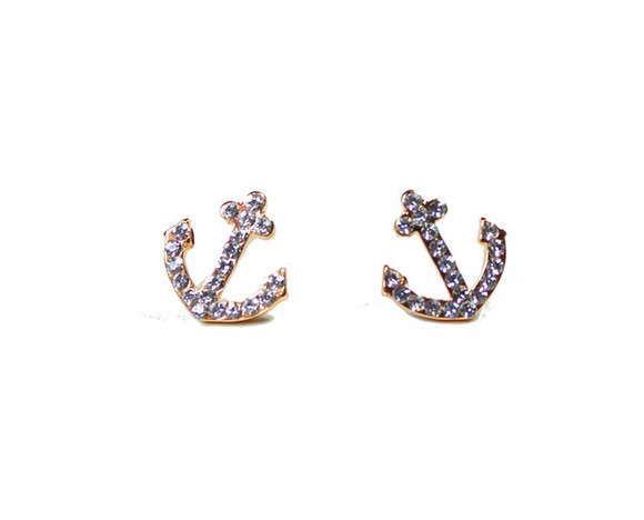 jewels earrings studs anchor gold cute sparkle