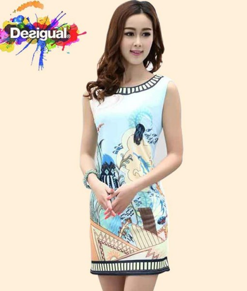 Hot summer women sleeveless Aviary printing dress desigual spain brand lady robe desigual vestido size S M L XL   Amazing Shoes UK