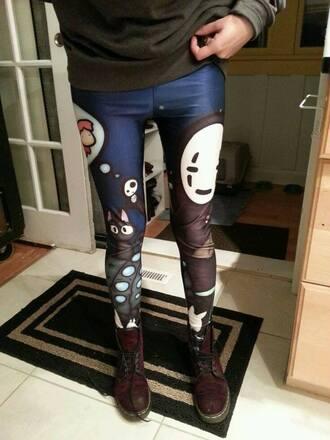 leggings totoro spirited away ponyo anime cats pants navy bottoms cute lovely japan japanese kawaii studio ghibli