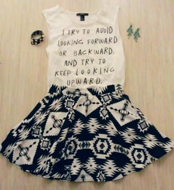 shirt cute weheartit lovely girly skirt black white bracelets earrings quote on it