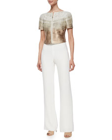 Metallic Degrade Leather Piped Jacket & Cady Wide-Leg Pants