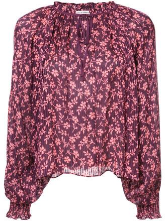 blouse boho women floral cotton silk red top