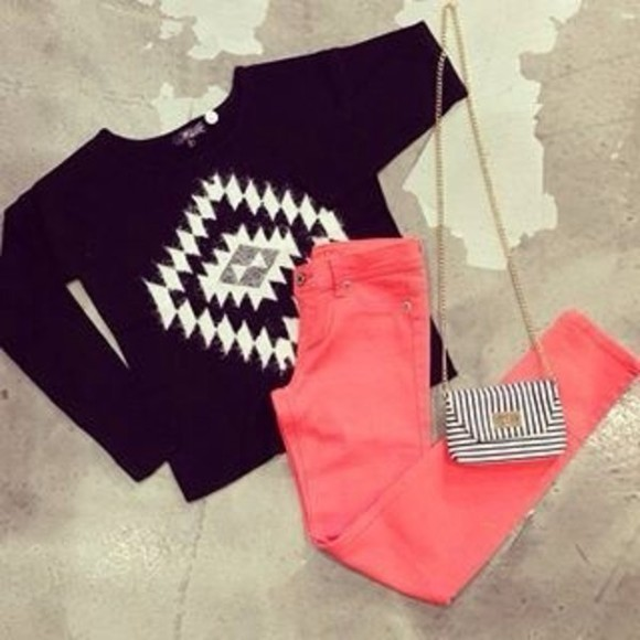black sweater sweater trending cropped sweater tribal pattern tumblr post boho bags