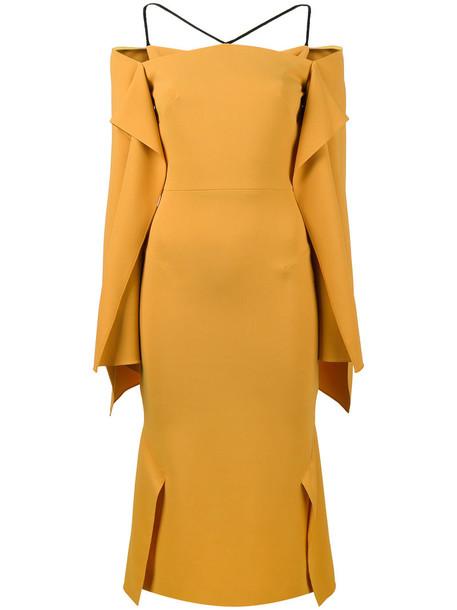 Roland Mouret dress draped dress women spandex draped silk