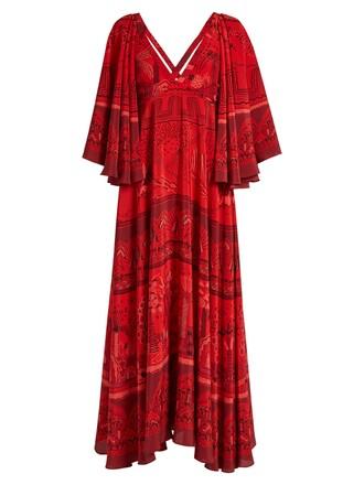 dress silk dress print silk red