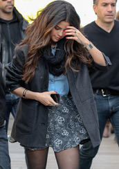 skirt,selena gomez,blouse,coat,scarf,t-shirt,clothes,outfit,jewels