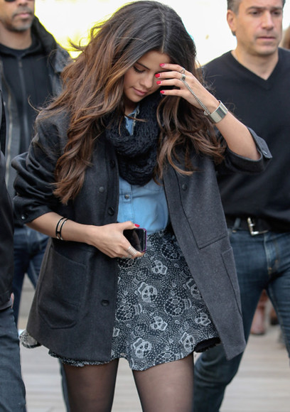 selena gomez skirt blouse coat scarf t-shirt clothes outfit jewels