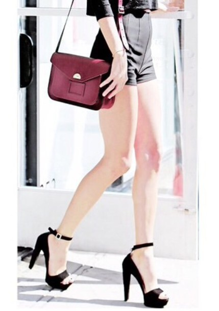shoes dark red bag black heels