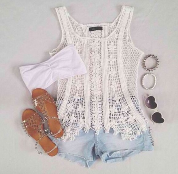 white tank top tank top lace