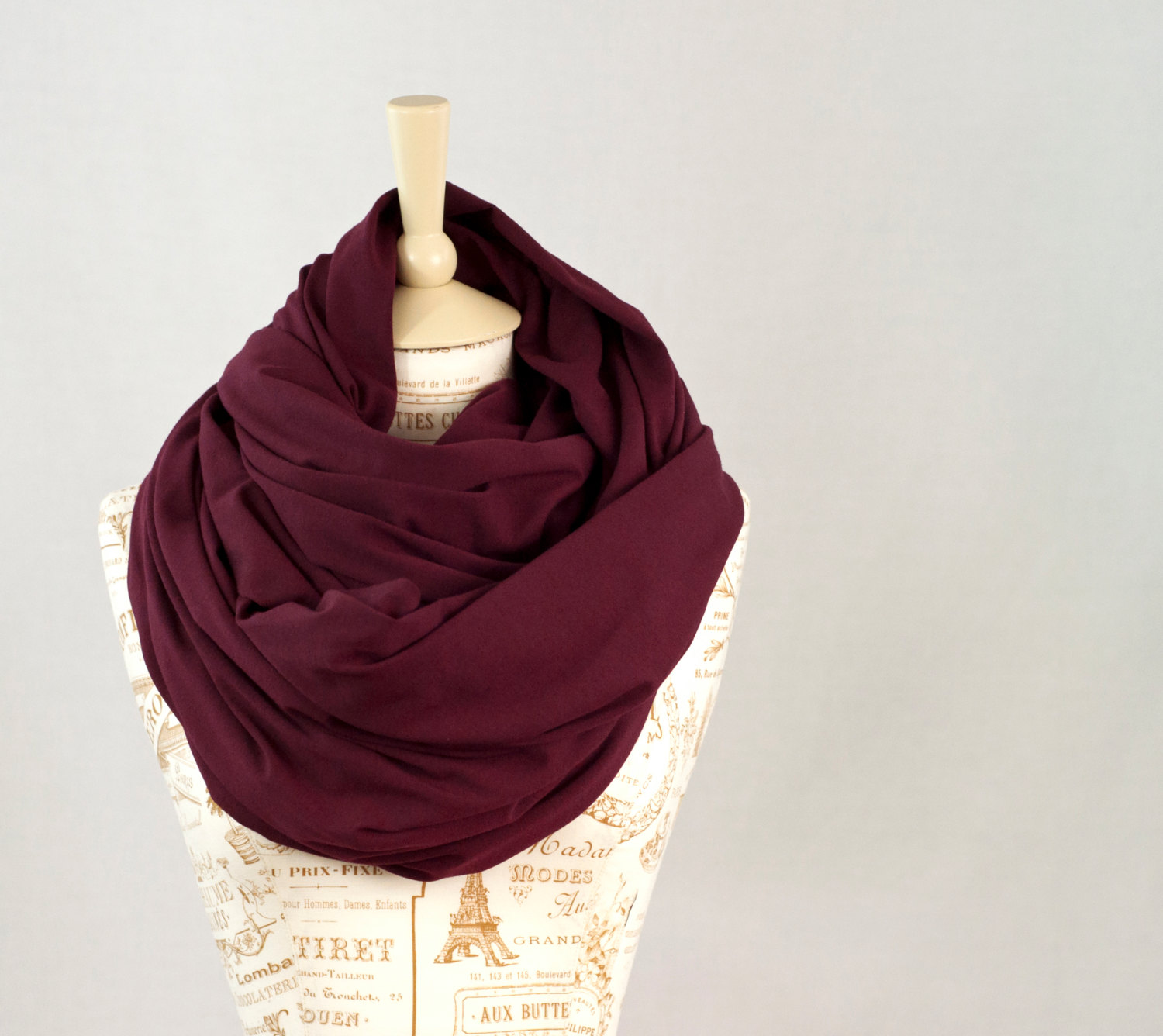Chunky infinity scarf, maroon burgundy oversized cowl scarf, hooded warm red circle scarf, extra large jersey circle shawl scarf