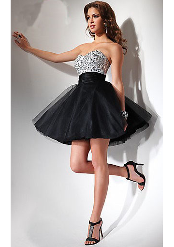 A-line Hotsale Strapless Jewel Bodice Tulle Mini Length Cocktail / Homecoming Dresses Flirt 2003 - Missyprom.com