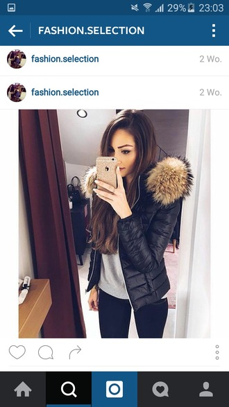jacket black jacket fur warm stylish