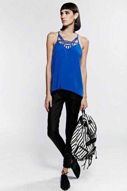 cb244d45913034 shirt top blue top cami top blue cami top kaleidoscope top cut out top  silky top
