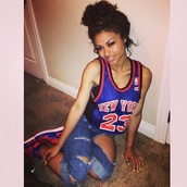 jeans,tank top,jersey,new york,23,nba,blue,red,nike,shirt,new york city,tumblr outfit,ripped jeans