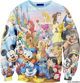 sweater jumper clothes cartoon disney princess printed sweater disney sweater