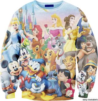 sweater jumper clothes cartoon disney princess printed sweater disney sweater