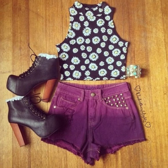 white jeffrey campbell black studded shorts shirt jeffrey campbell lita yellow daisy cropped cropped tee t-shirt ombre purple ombre stud studded shorts cuff flower bracelets
