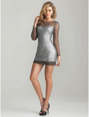 UK Dresses 30-75% Off - Bateau Sheath/Column Long Sleeve Short/Mini Tulle Homecoming Dress/Cocktail Dresses #FD277