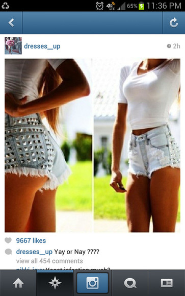 shorts studded high-wasted denim shorts high waisted short