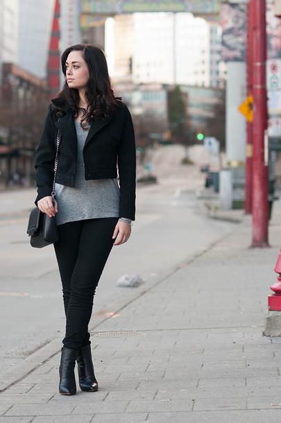 coco and vera blogger black jacket grey t-shirt
