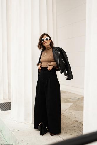 pants wide leg black pants top jacket shoes sunglasses