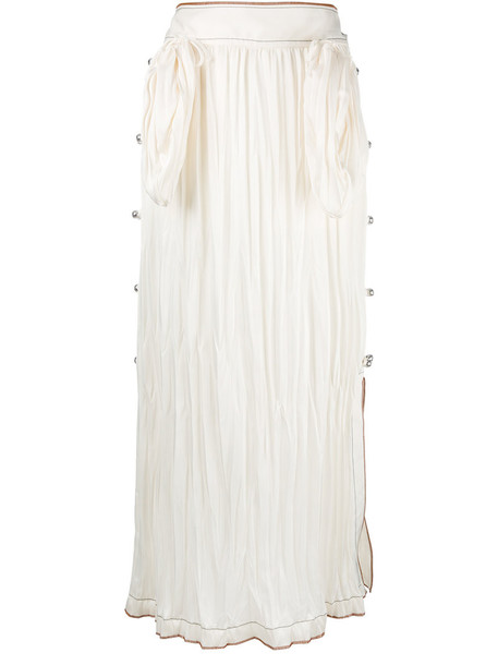Loewe pleated midi skirt, Women's, Size: 38, Nude/Neutrals, Polyester/Triacetate