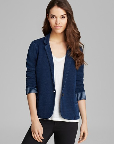 jacket blazer splendid blazer - indigo dye french terry indigo