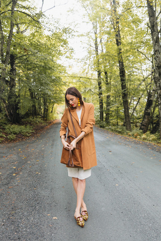 louise roe blogger coat dress bag shoes jewels make-up fall outfits loafers