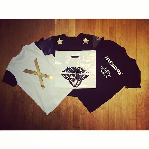 t-shirt twinkle diamonds black white gold