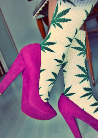 shoes pink weed socks hot perfection bag