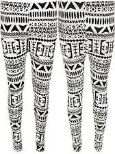 Leggings for Womens Aztec Print Tribal Black White Full Pants Long 6 12 New | eBay