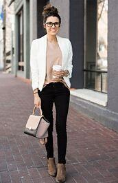 jacket,pink shirt,white blazer,blakc skinny jeans,brown boots,blogger,glasses