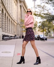 shorts,skirt,draped,draped skirt,ruffled trim skirt,rose sweater,sweater,short skirt,knitted sweater,black boots
