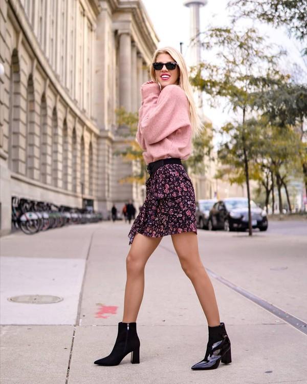 shorts skirt draped draped skirt ruffled trim skirt rose sweater sweater short skirt knitted sweater black boots