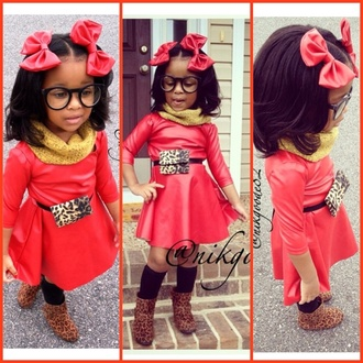 girl girly fashion red red dress kids fashion bows hair bow hair accessory red bow faux leather faux leather dress leather leather dress leather bow leopard print fanny pack cheetah print fanny pack boots cheetah print boots scarf glasses skater dress nyla milan