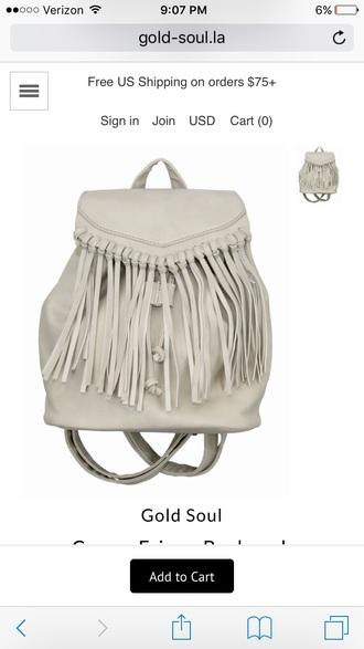 bag backpack fringes fringed bag