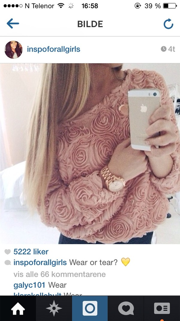 sweater pink roses beautiful
