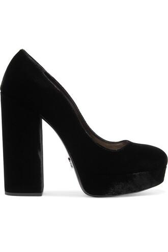 pumps platform pumps black velvet shoes