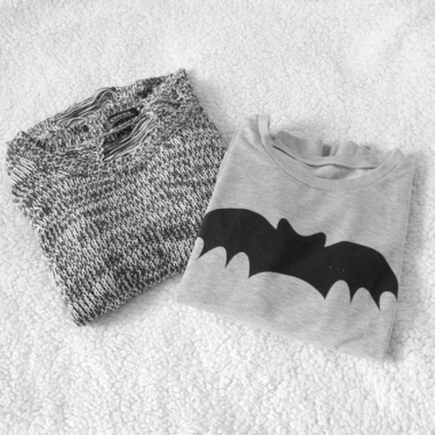 sweater batman hipster cool sweater grey knitted sweater pullover shirt blouse fashion style cute wow beautiful t-shirt batman shirt romper