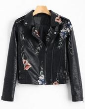 jacket,embroidered,girly,black,leather,leather jacket,biker jacket
