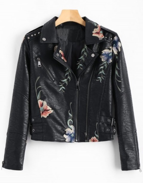 jacket embroidered girly black leather leather jacket biker jacket