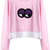 Pink Long Sleeve Eyes Contrast Scallopped Hem Sweatshirt - Sheinside.com