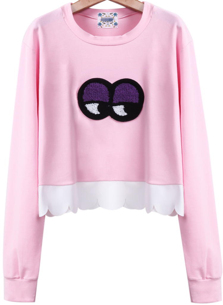 Pink Long Sleeve Eyes Contrast Scallopped Hem Sweatshirt - Sheinside.com