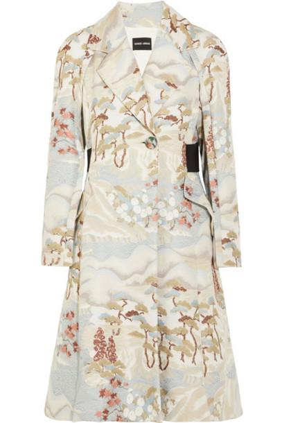GIORGIO ARMANI coat jacquard beige
