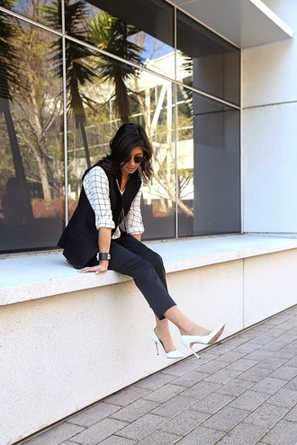this time tomorrow blogger white shoes stilettos vest checkered shirt blouse jacket pants shoes bag sunglasses jewels