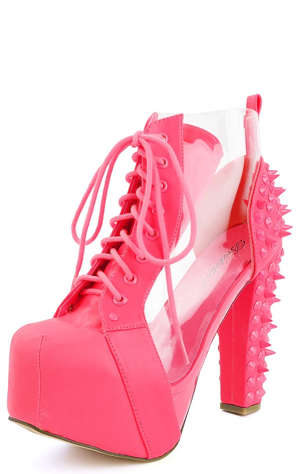 15 neon pink transparent spike ankle boots and shop boots at makemechic.com