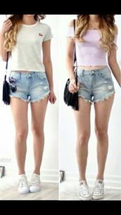 top,shorts,t-shirt,cropped,purple,white,stripes,bag
