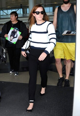 sweater flats stripes emma watson pants black and white