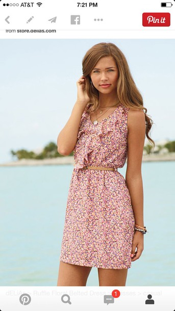 dress ruffle floral belted dress